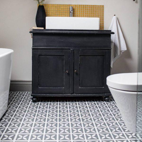 Storm gray bathroom floor