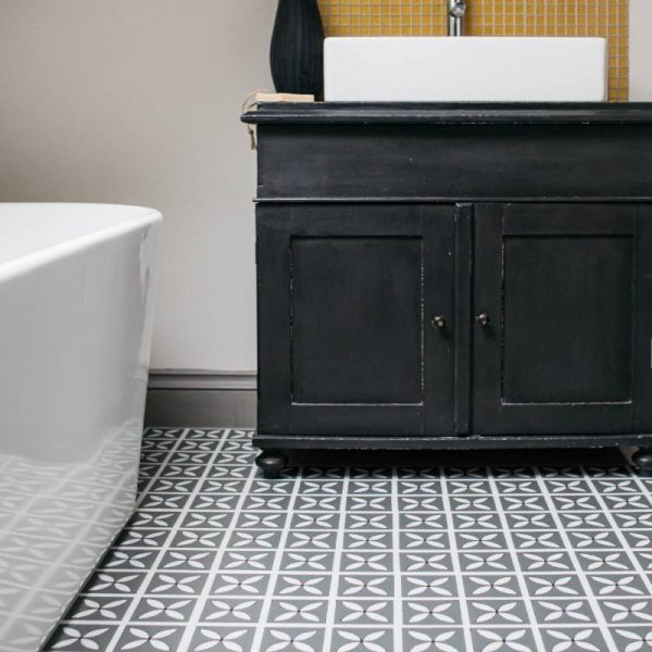 Storm gray luxury vinyl tile flooring