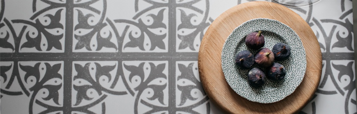patterned grey luxury vinyl tiles
