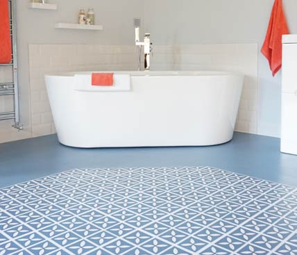 blue vinyl floor in a bathroom