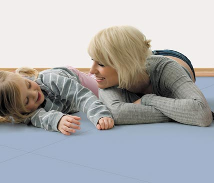 blue floor with a mum and daughter