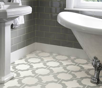 Grey patterned flooring in a bathroom