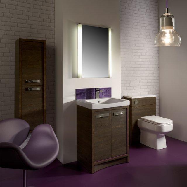 purple lvt flooring in a bathroom