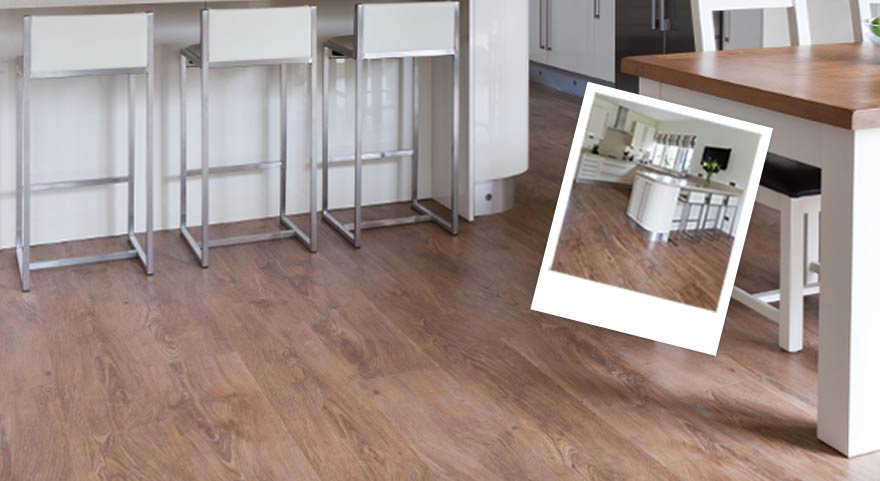 Wood effect flooring in a kitchen