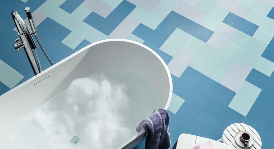 little bricks blue bathroom vinyl flooring
