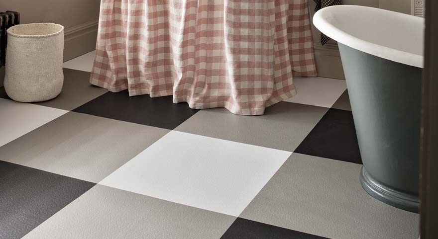 vinyl checkerboard flooring in black and white and grey