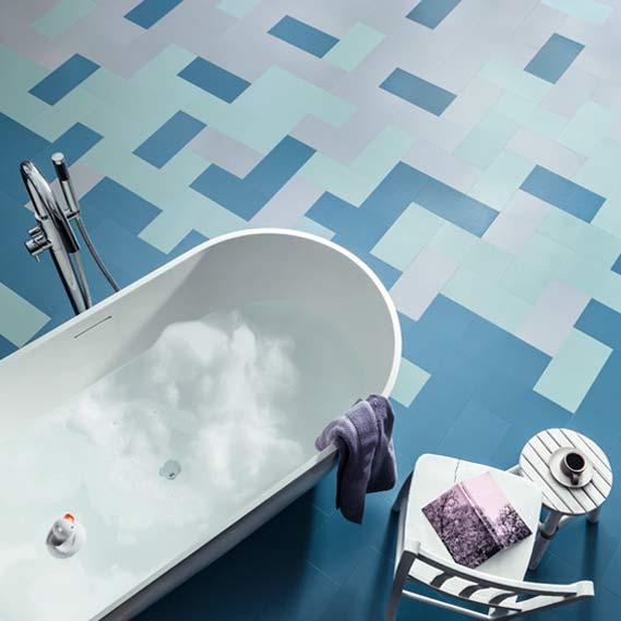 blue bathroom floor