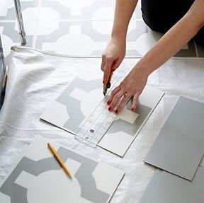 diy vinyl tile cutting