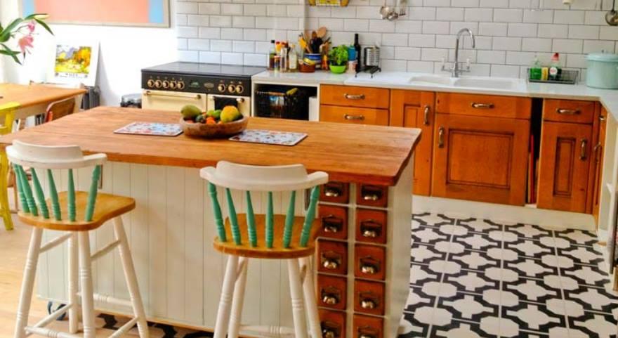 Designer kitchen vinyl floor in turquoise colour