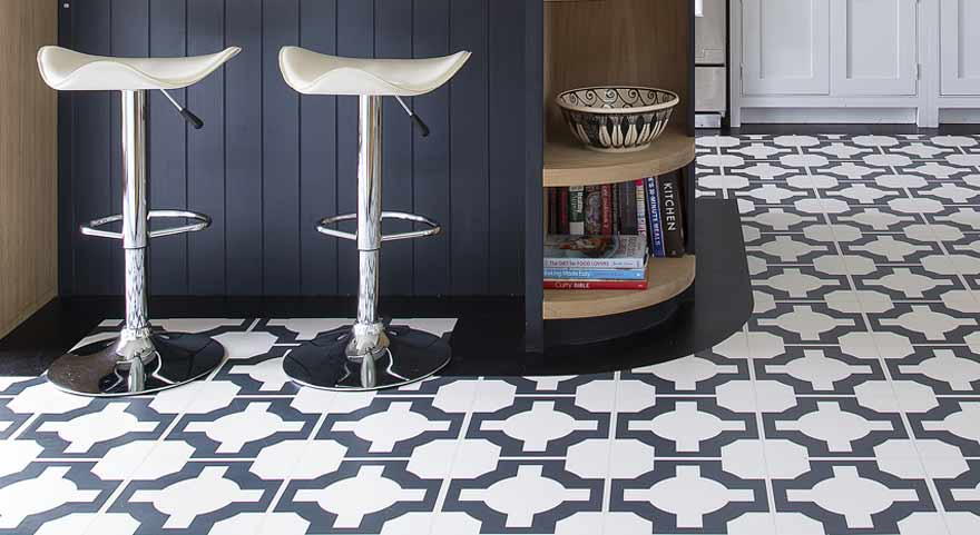 Black and white vinyl kitchen floor