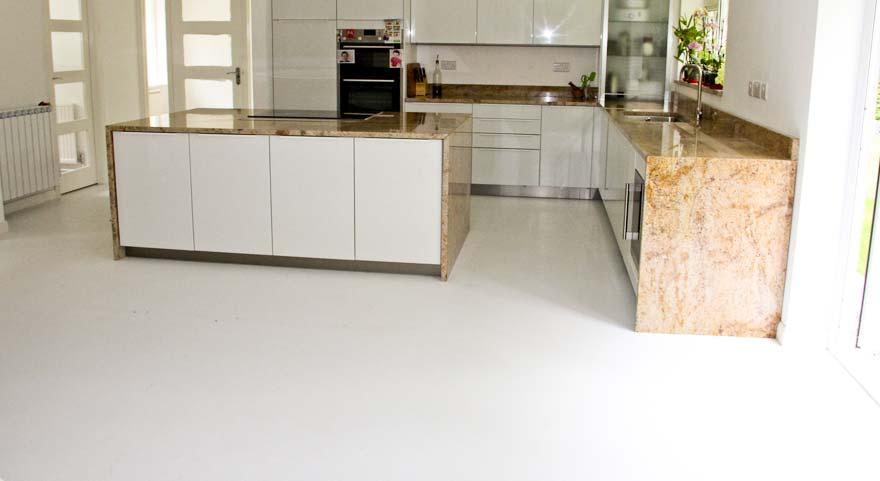 Vinyl white shiny kitchen floor