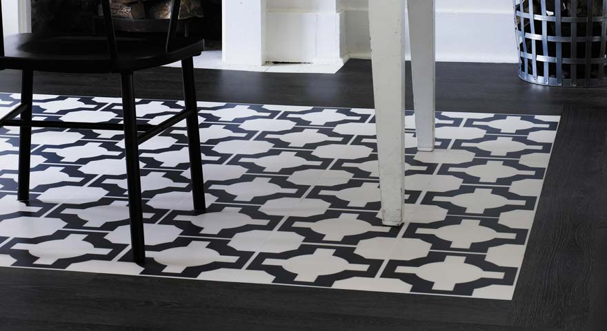black and white parquet dining room floor tiles