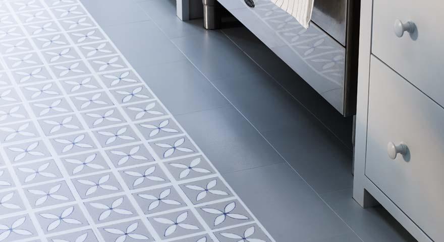 blue patterned vinyl ktichen floor