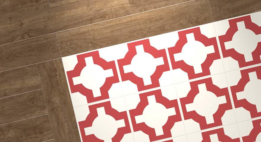 red designer flooring with wood border