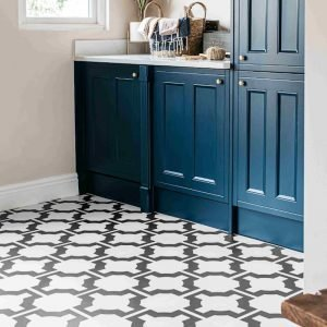 parquet charcoal patterned lvt in utility room