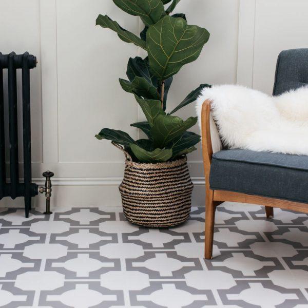 grey patterned floor tiles in devol kitchen
