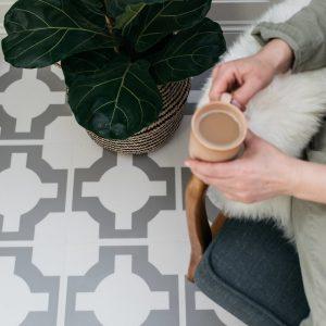 parquet stone neutral lvt flooring in modern living room