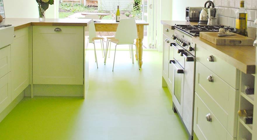 Pistachio green kitchen vinyl flooring