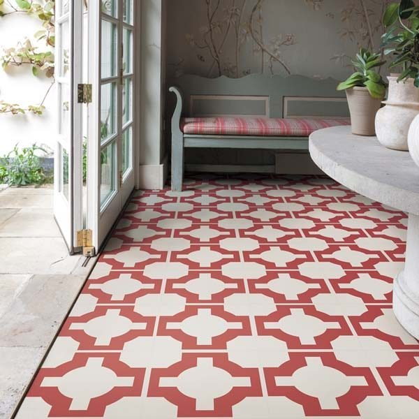 parquet red and white floor tiles