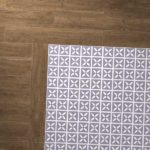 purple lattice tiles with wooden border