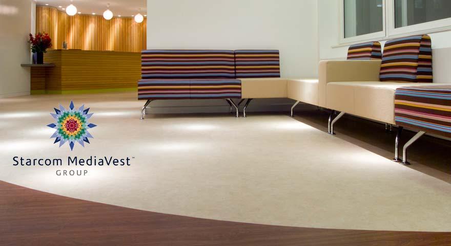 custom flooring in a recpetion