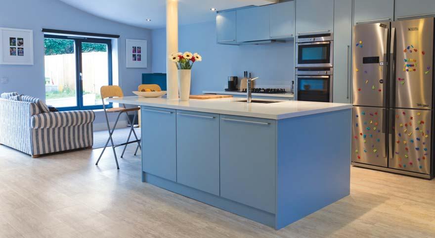 Stone effect flooring in a kitchen