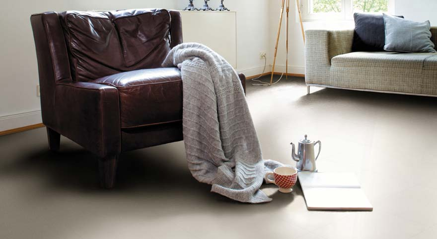 cream coloured rubber floor tiles in a living room