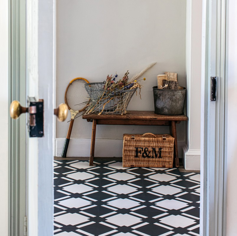 patterned hallway floor