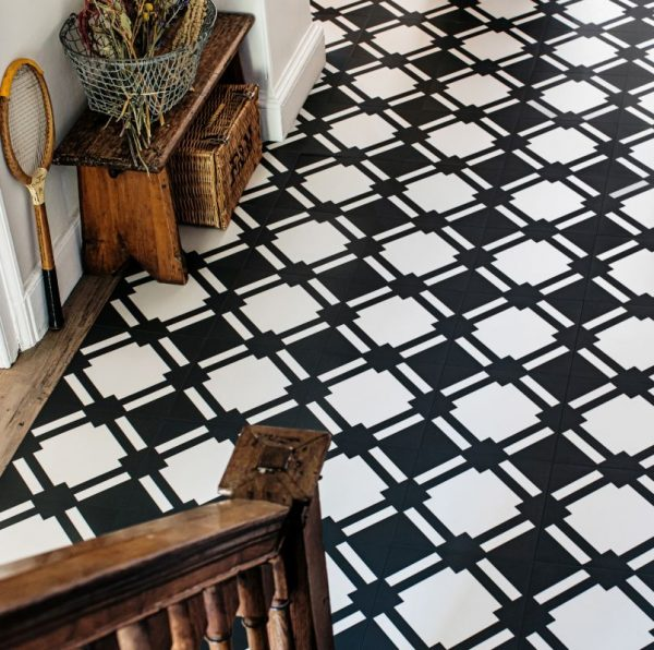 black and white check floor in hallway