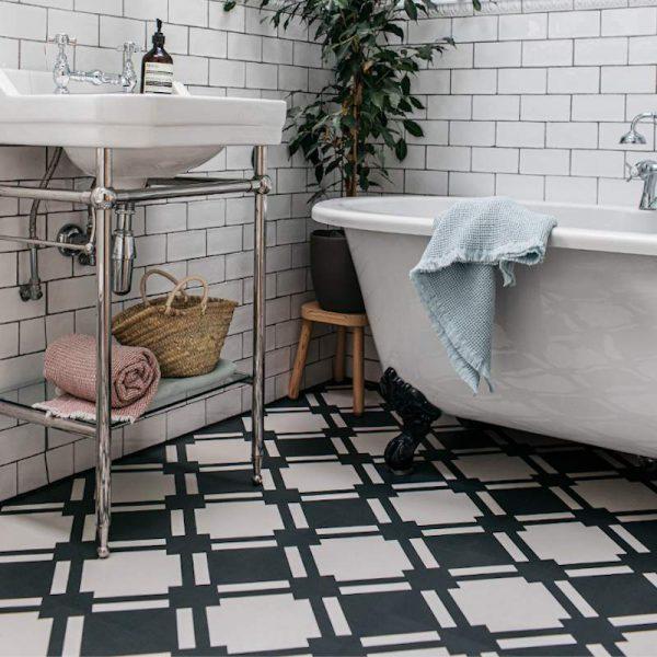monochrome bathroom flooring in contemporary style