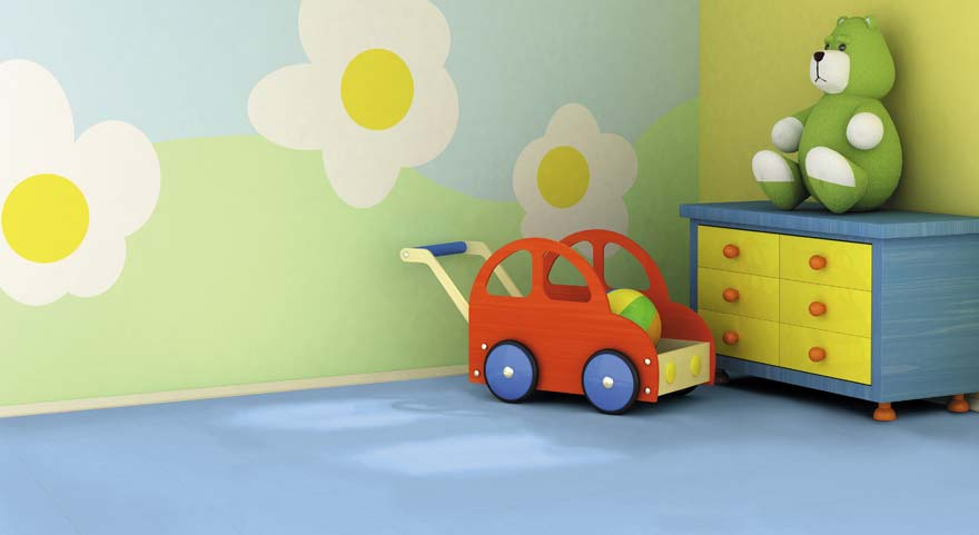 Blue vinyl flooring in a child's bedroom