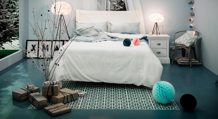 blue patterned flooring in a designer bedroom