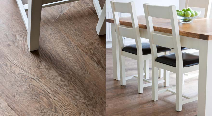 Oak vinyl dining room floor