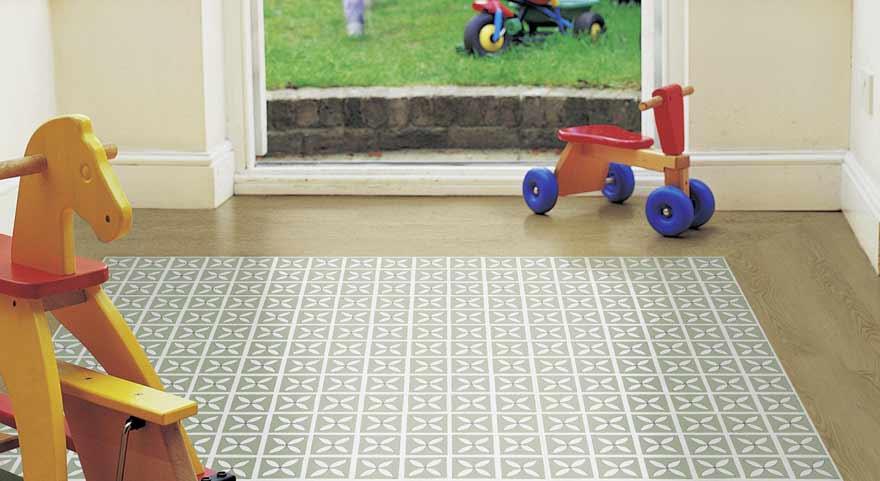 green floral playroom flooring