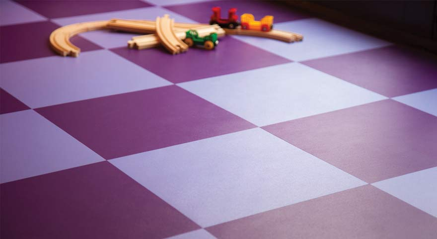 Purple and blue checkerboard floor