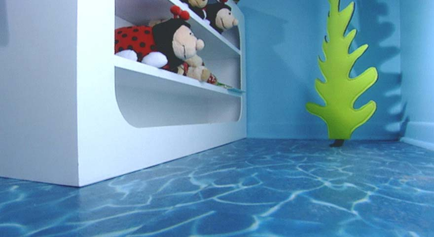 Water effect flooring in a kid's bedroom