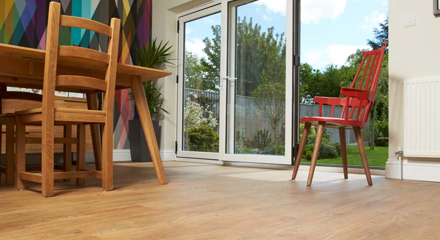 wood effect flooring in a conservatory