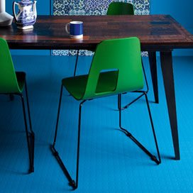 commercial blue rubber flooring with dimples