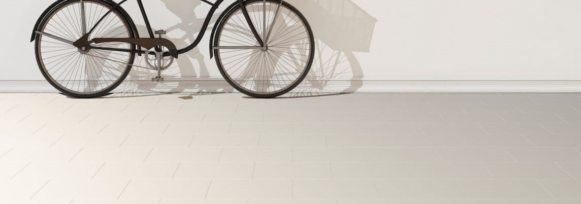Bike with Pumice Brick floor tiles