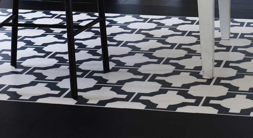 black-designer flooring for a utility room
