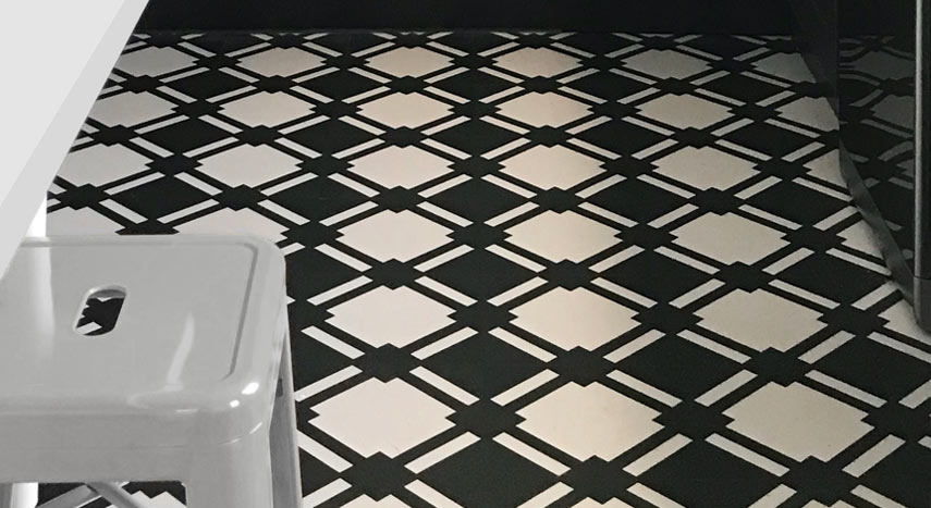 Black and white check flooring in a kitchen