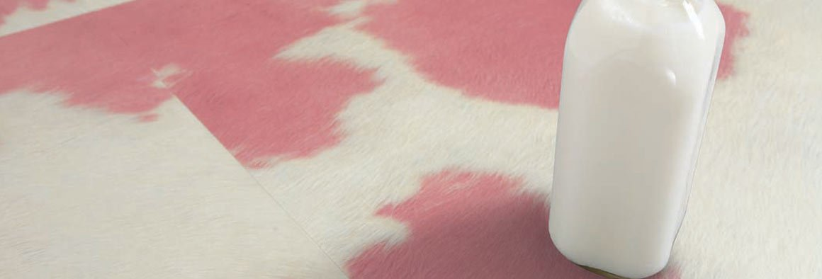 Cow hide floor tiles in pink