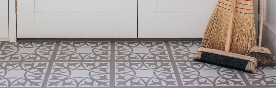 cream pattern utility flooring