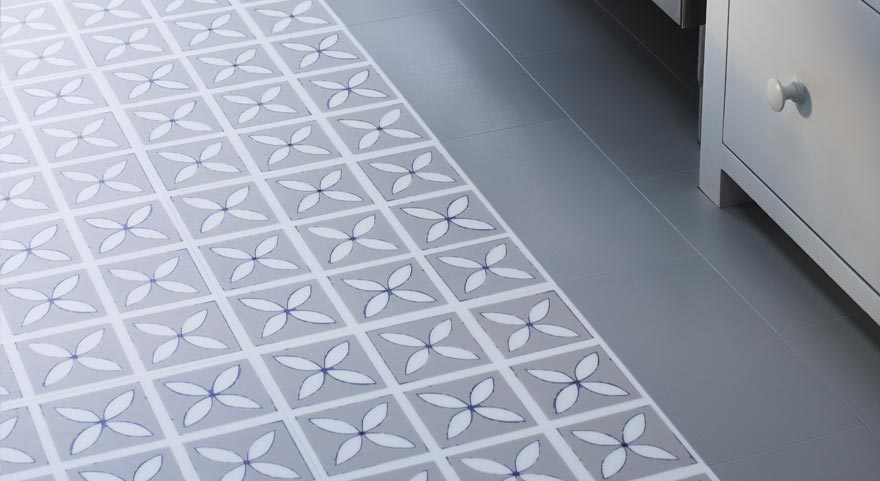 grey designer utility room flooring