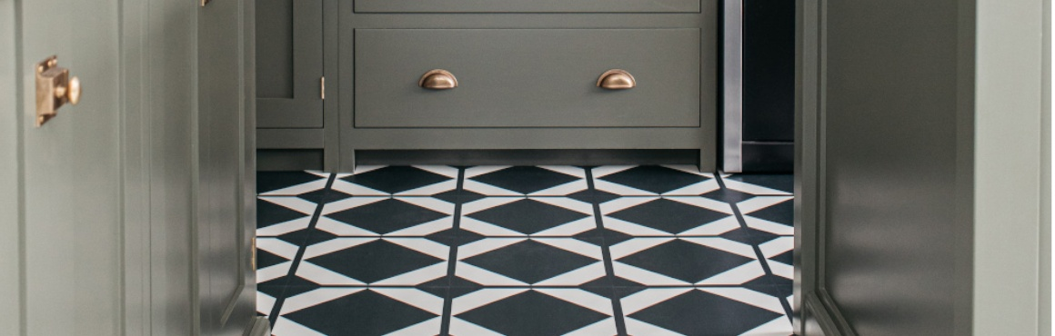 monochrome pattern kitchen floor