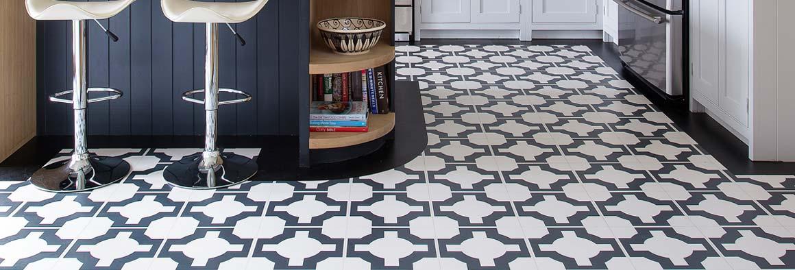 Parquet charcoal vinyl floor tiles in a kitchen