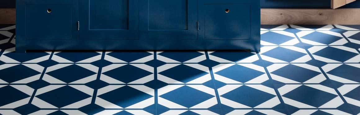 Patterned Vinyl Flooring in Blue