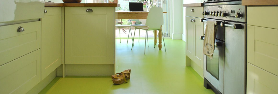 Green Plain Coloured Floor in a Kitchen