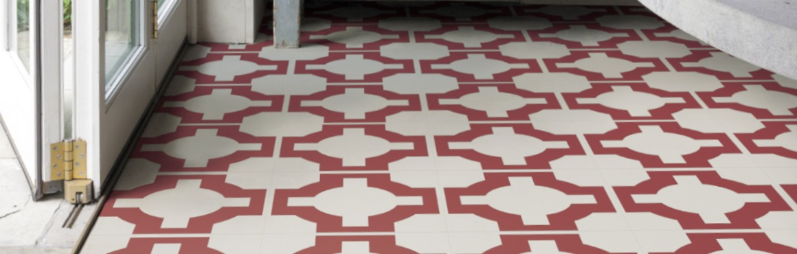 red pattern floor
