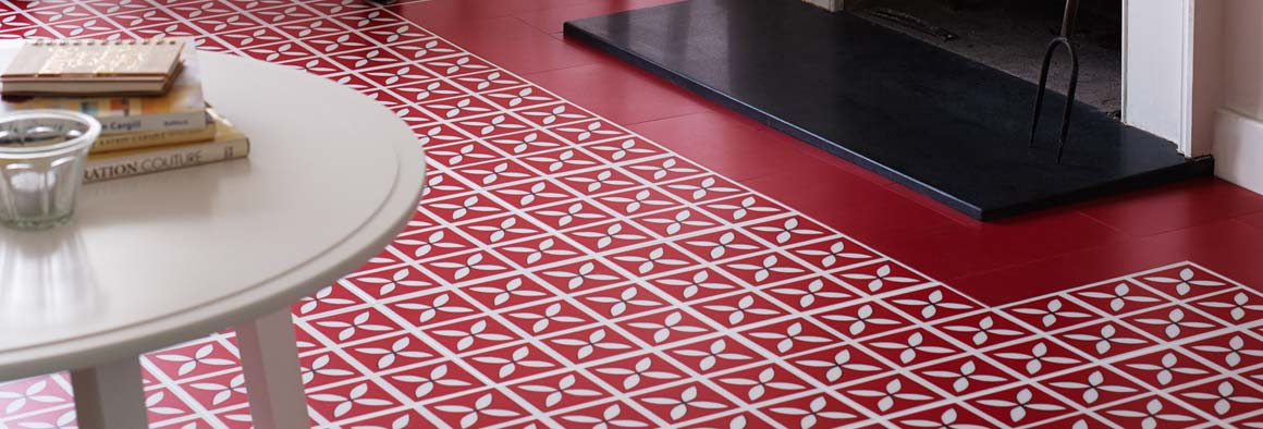 Red designer floor - 'Lattice' design